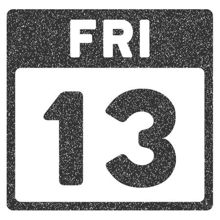 friday 13th: 13 Friday Calendar Page grainy textured icon for overlay watermark stamps. Flat symbol with dust texture. Dotted glyph gray ink rubber seal stamp with grunge design on a white background. Stock Photo