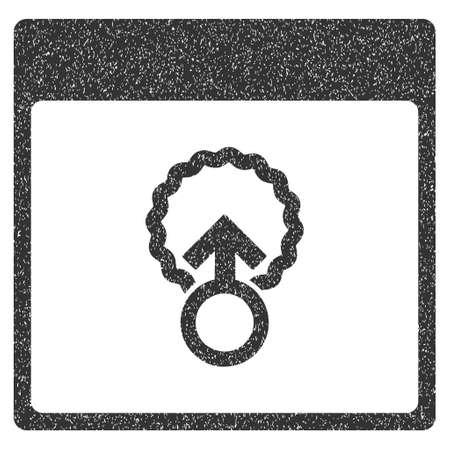 penetración: La penetración celular página de calendario icono de textura granulosa de sellos de agua de superposición. símbolo plana con textura sucia. Salpicado sello de junta de goma de la tinta gris glifo con diseño de grunge sobre un fondo blanco. Foto de archivo