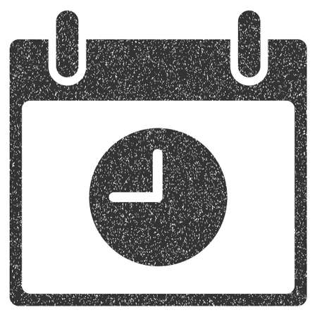 clockface: Clock Calendar Day grainy textured icon for overlay watermark stamps. Flat symbol with scratched texture. Dotted glyph gray ink rubber seal stamp with grunge design on a white background.