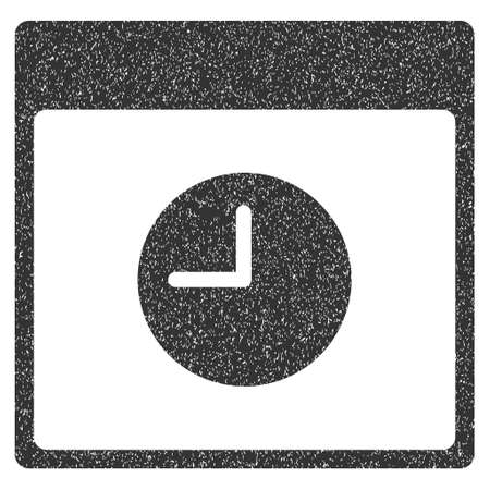 clockface: Clock Calendar Page grainy textured icon for overlay watermark stamps. Flat symbol with unclean texture. Dotted glyph gray ink rubber seal stamp with grunge design on a white background. Stock Photo