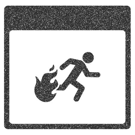 evacuation: Fire Evacuation Man Calendar Page grainy textured icon for overlay watermark stamps. Flat symbol with scratched texture.