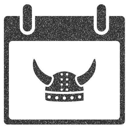 horned: Horned Helmet Calendar Day grainy textured icon for overlay watermark stamps. Flat symbol with dust texture. Dotted glyph gray ink rubber seal stamp with grunge design on a white background.