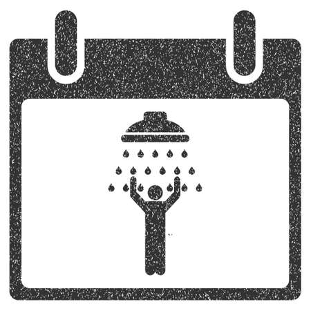 man shower: Man Shower Calendar Day grainy textured icon for overlay watermark stamps. Flat symbol with dirty texture. Dotted glyph gray ink rubber seal stamp with grunge design on a white background.