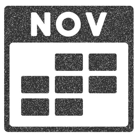 november calendar: November Calendar Grid grainy textured icon for overlay watermark stamps. Flat symbol with dust texture. Dotted glyph gray ink rubber seal stamp with grunge design on a white background. Stock Photo