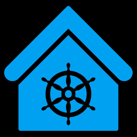 administer: Steering Wheel House icon. Glyph style is flat iconic symbol, blue color, black background.