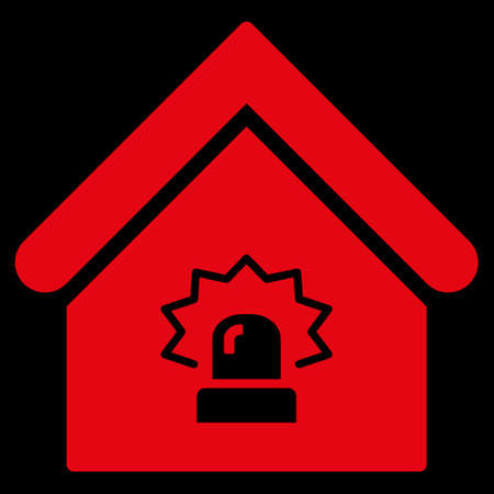 realty: Realty Alarm icon. Glyph style is flat iconic symbol, red color, black background.