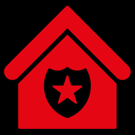realty: Realty Protection icon. Glyph style is flat iconic symbol, red color, black background.