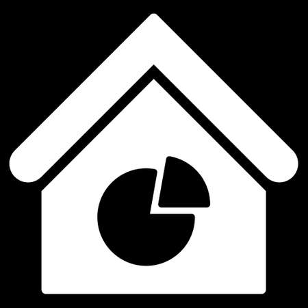 realty: Realty Pie Chart icon. Glyph style is flat iconic symbol, white color, black background. Stock Photo