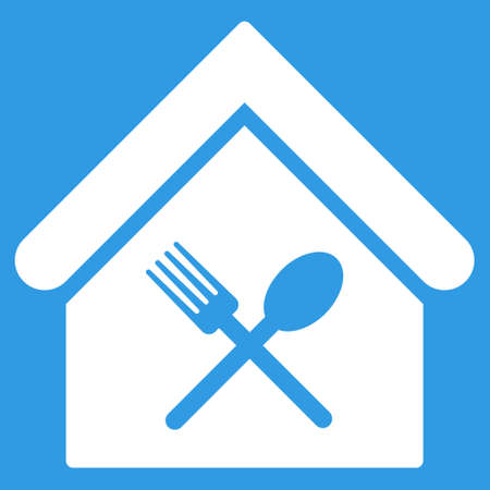 food court: Food Court icon. Glyph style is flat iconic symbol, white color, blue background.