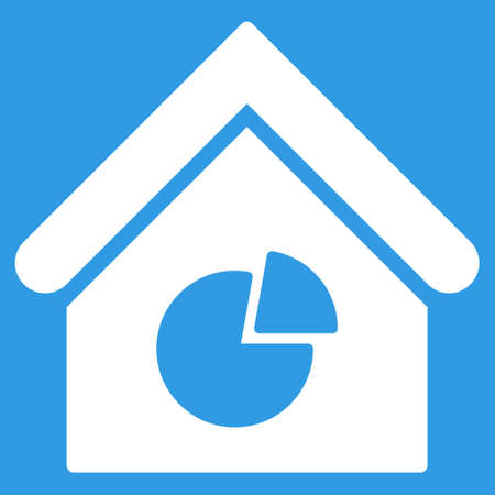 realty: Realty Pie Chart icon. Glyph style is flat iconic symbol, white color, blue background.