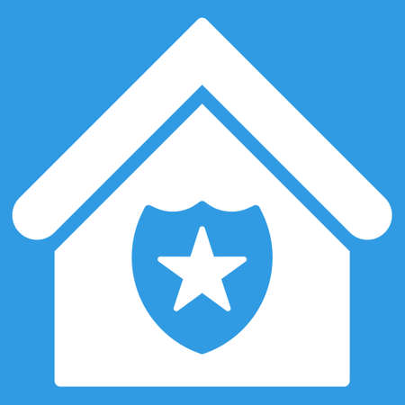 guard house: Realty Protection icon. Glyph style is flat iconic symbol, white color, blue background. Stock Photo
