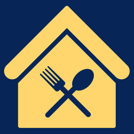 food court: Food Court icon. Glyph style is flat iconic symbol, yellow color, blue background.