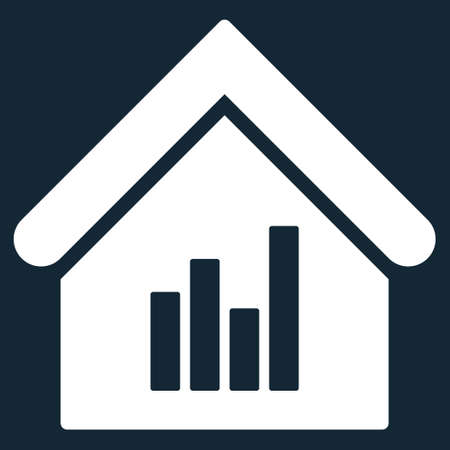 realty: Realty Bar Chart icon. Glyph style is flat iconic symbol, white color, dark blue background.