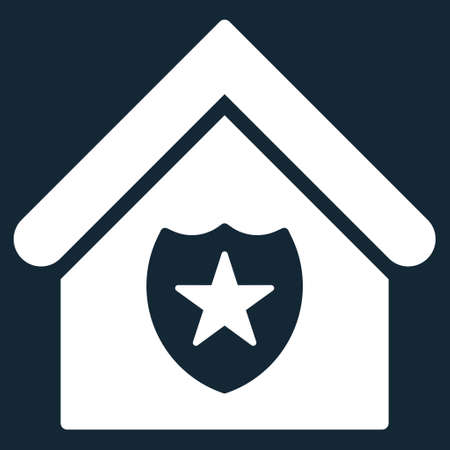 realty: Realty Protection icon. Glyph style is flat iconic symbol, white color, dark blue background.