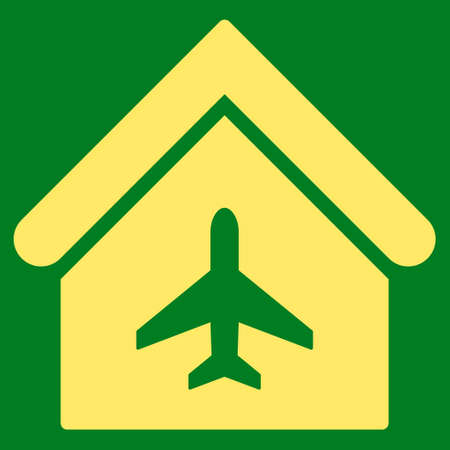 Aircraft Hangar icon. Glyph style is flat iconic symbol, yellow color, green background. Stock Photo