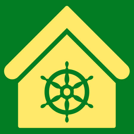 administer: Steering Wheel House icon. Glyph style is flat iconic symbol, yellow color, green background.
