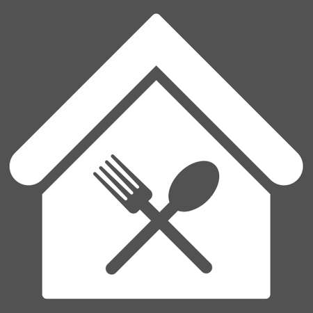 food court: Food Court icon. Glyph style is flat iconic symbol, white color, gray background.