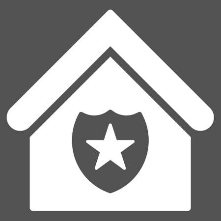 realty: Realty Protection icon. Glyph style is flat iconic symbol, white color, gray background.