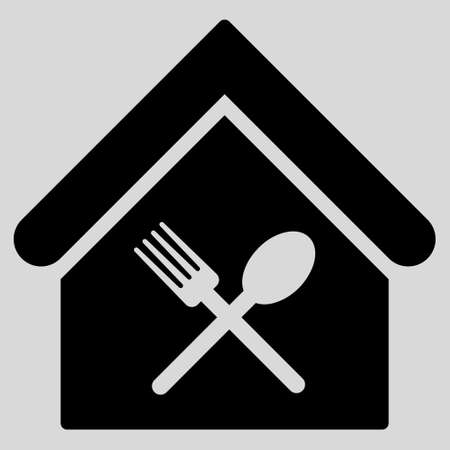 food court: Food Court icon. Glyph style is flat iconic symbol, black color, light gray background. Stock Photo