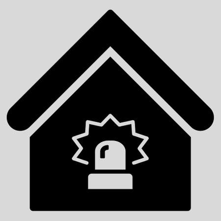 realty: Realty Alarm icon. Glyph style is flat iconic symbol, black color, light gray background.