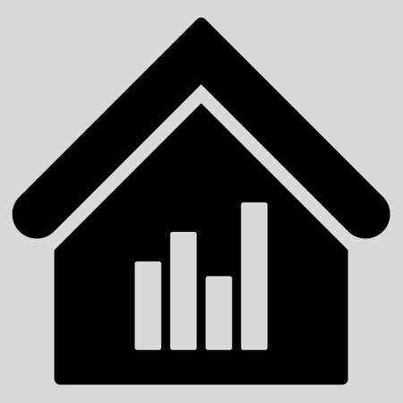realty: Realty Bar Chart icon. Glyph style is flat iconic symbol, black color, light gray background.