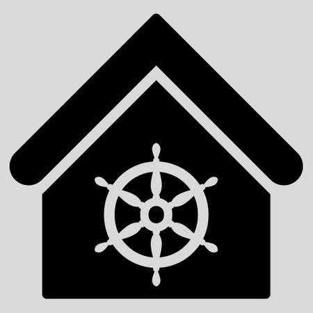 administer: Steering Wheel House icon. Glyph style is flat iconic symbol, black color, light gray background.