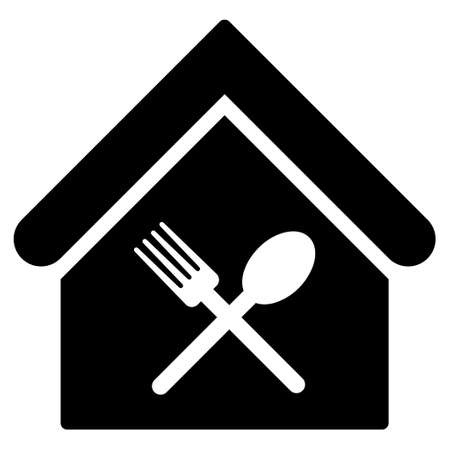 food court: Food Court icon. Glyph style is flat iconic symbol, black color, white background.