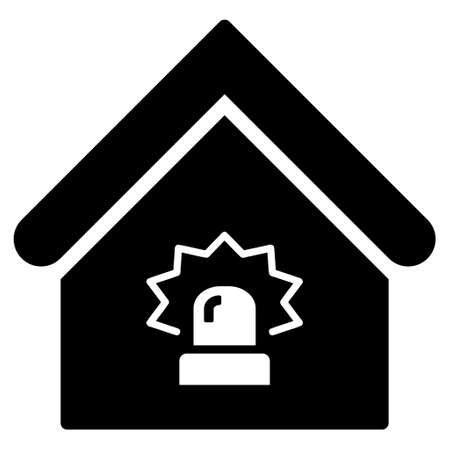 realty: Realty Alarm icon. Glyph style is flat iconic symbol, black color, white background. Stock Photo