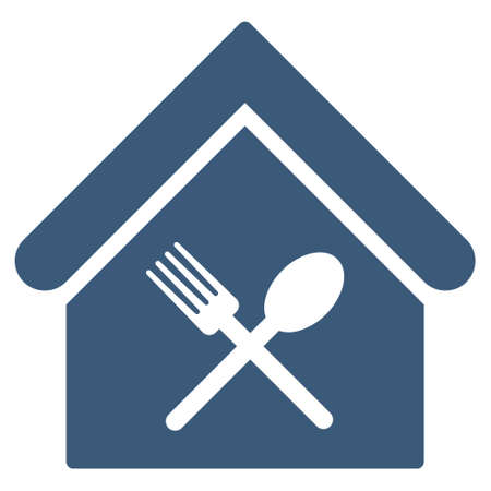 food court: Food Court icon. Glyph style is flat iconic symbol, blue color, white background. Stock Photo