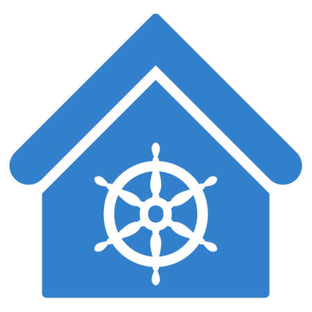 administer: Steering Wheel House icon. Glyph style is flat iconic symbol, cobalt color, white background. Stock Photo
