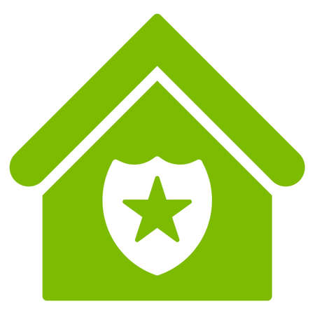 realty: Realty Protection icon. Glyph style is flat iconic symbol, eco green color, white background.