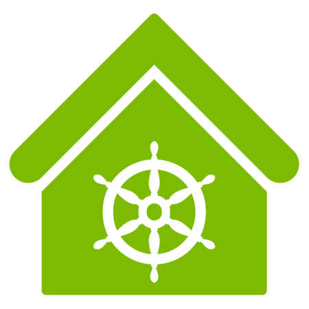 administer: Steering Wheel House icon. Glyph style is flat iconic symbol, eco green color, white background.