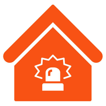 realty: Realty Alarm icon. Glyph style is flat iconic symbol, orange color, white background. Stock Photo
