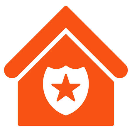 realty: Realty Protection icon. Glyph style is flat iconic symbol, orange color, white background.