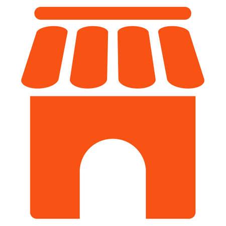 Shop Building icon. Glyph style is flat iconic symbol, orange color, white background. Stock Photo