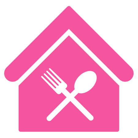 food court: Food Court icon. Glyph style is flat iconic symbol, pink color, white background. Stock Photo