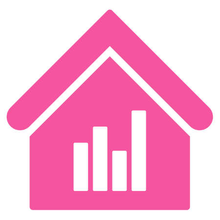 realty: Realty Bar Chart icon. Glyph style is flat iconic symbol, pink color, white background.