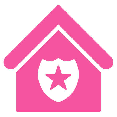 realty: Realty Protection icon. Glyph style is flat iconic symbol, pink color, white background.