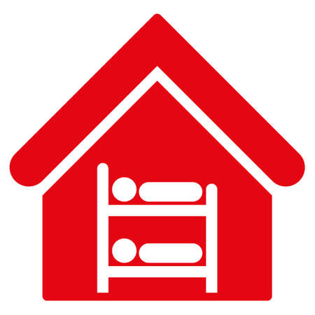 hostel: Hostel icon. Glyph style is flat iconic symbol, red color, white background.
