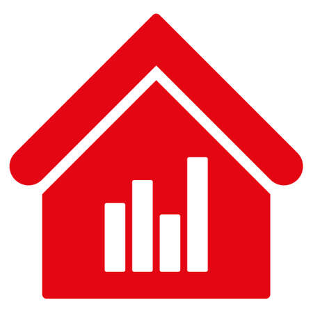 realty: Realty Bar Chart icon. Glyph style is flat iconic symbol, red color, white background. Stock Photo