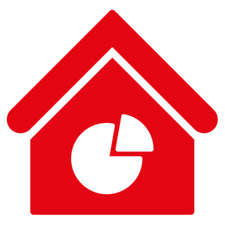 realty: Realty Pie Chart icon. Glyph style is flat iconic symbol, red color, white background.