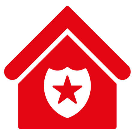 realty: Realty Protection icon. Glyph style is flat iconic symbol, red color, white background.