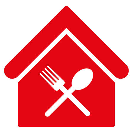 food court: Food Court icon. Glyph style is flat iconic symbol, red color, white background.