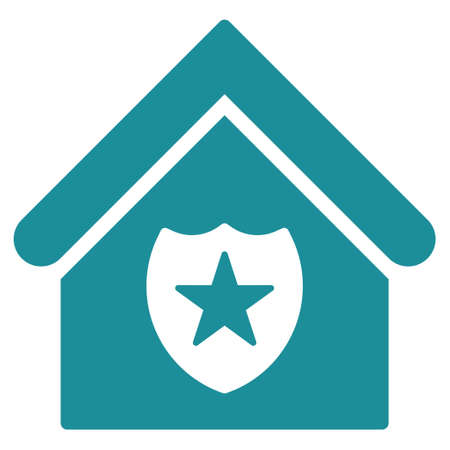 realty: Realty Protection icon. Glyph style is flat iconic symbol, soft blue color, white background. Stock Photo