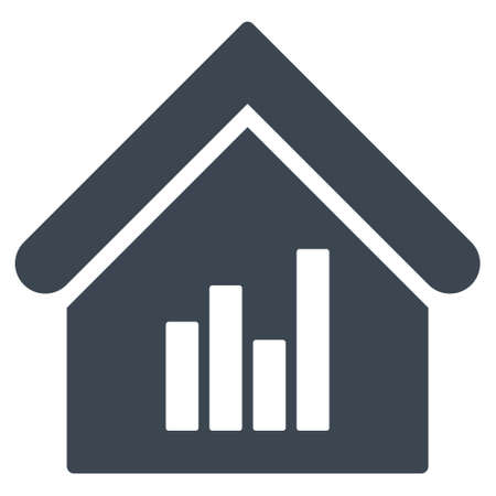 realty: Realty Bar Chart icon. Glyph style is flat iconic symbol, smooth blue color, white background.