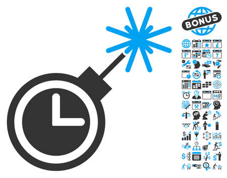 Time Bomb icon with bonus calendar and time management symbols. Glyph illustration style is flat iconic bicolor symbols, blue and gray colors, white background. Stock Photo