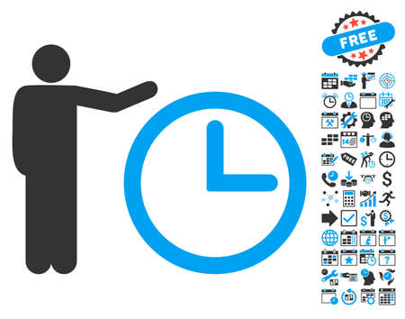 show time: Time Show icon with bonus calendar and time management graphic icons. Glyph illustration style is flat iconic bicolor symbols, blue and gray colors, white background.
