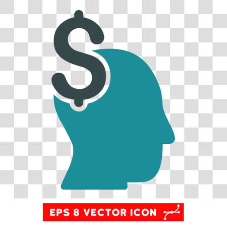 economist: Commercial Intellect vector icon. Image style is a flat soft blue icon symbol.