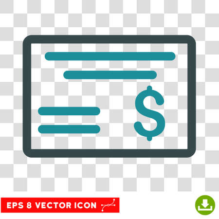 Dollar Cheque vector icon. Image style is a flat soft blue pictograph symbol. Ilustração