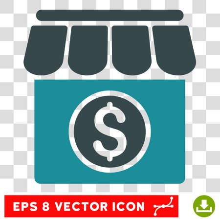 soft sell: Market vector icon. Image style is a flat soft blue icon symbol.